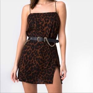 Motel Datista Brown Leopard Slip Dress
